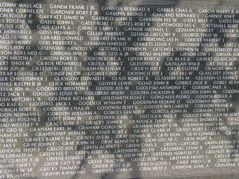 Names of some Americans killed during Battle of Okinawa
