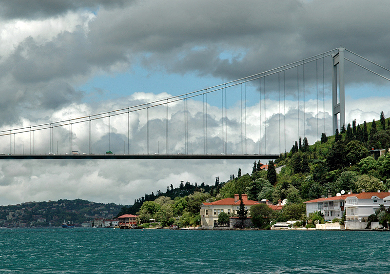 Storm clouds over the Fatih Sultan Mehmet Bridge