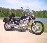 535 FRONT WITH HOME MADE HIGHWAY BARS AND FOOT PEGS AND AFTERMARKET HANDLEBARS