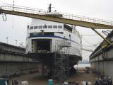 Queen of Oak Bay in dry dock at the end of the MLU