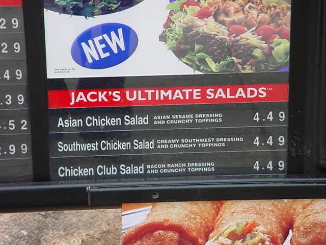 salad menu at jack in the box