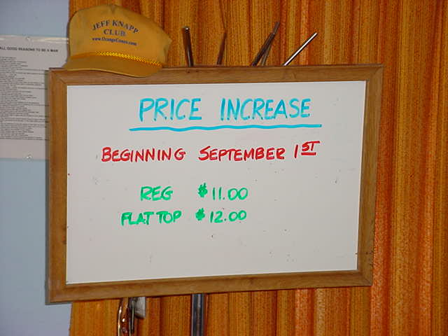 new prices at <br>Bills Barber Shop