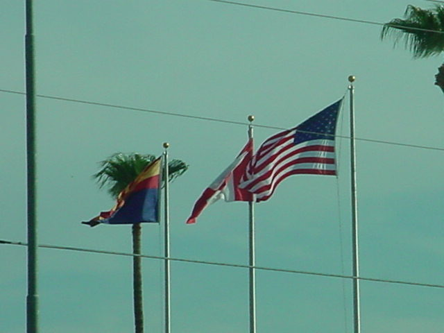 view of flags leaving jack in the box