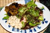 leftover grilled salmon with mesclun