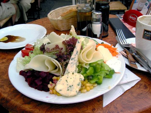 Cheese salad & Capuccino @ Cesky Krumlov