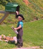Blonde Amish Kid Checking Mail crop