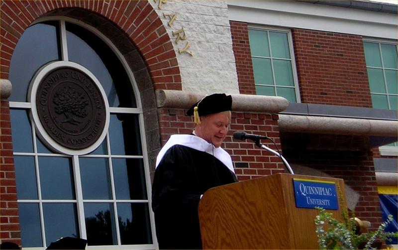 Dr. Chris Matthews at the Quinnipiac University graduation ceremonies