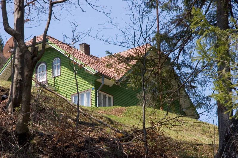 Farm house with satellite dish