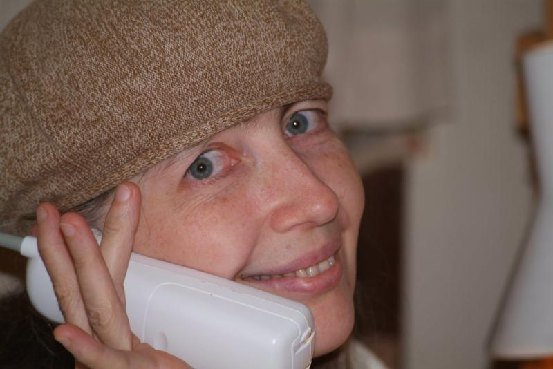 Deborah on the Phone with Her Sister June smallfile DSCF0001.JPG
