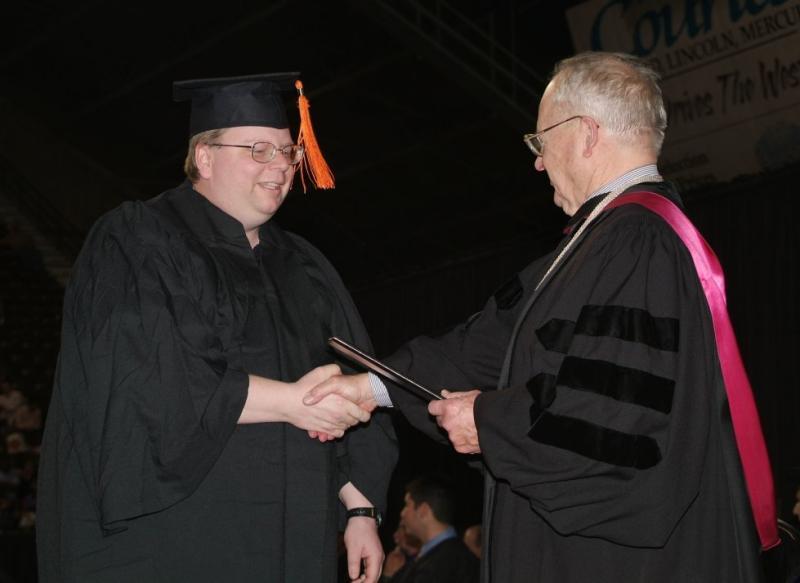 Steve Miller receiving Computer Science Degree at ISU smallfile DSCF0177.JPG