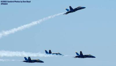 USN Blue Angels F/A-18 Hornets military aviation air show stock photo #4174