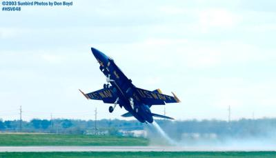 USN Blue Angels F/A-18 Hornet takeoff military aviation air show stock photo #3734