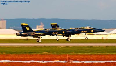 USN Blue Angels F/A-18 Hornets #1 and #2 military aviation air show stock photo #3824