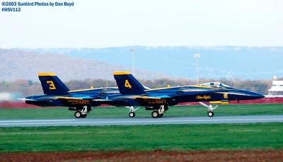 USN Blue Angels F/A-18 Hornets #3 and #4 military aviation air show stock photo #3827