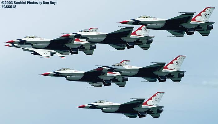 Seven USAF Thunderbirds military aviation air show stock photo #4381