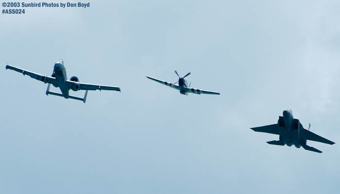 USAF Heritage Flight P-51D, A-10A and F-15 military heritage military aviation air show stock photo #4209