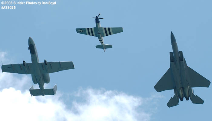 USAF Heritage Flight P-51D, A-10A and F-15 military heritage military aviation air show stock photo #4211