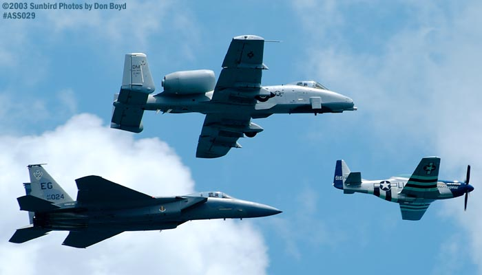 USAF Heritage Flight P-51D, A-10A and F-15 military heritage aviation air show stock photo #4215