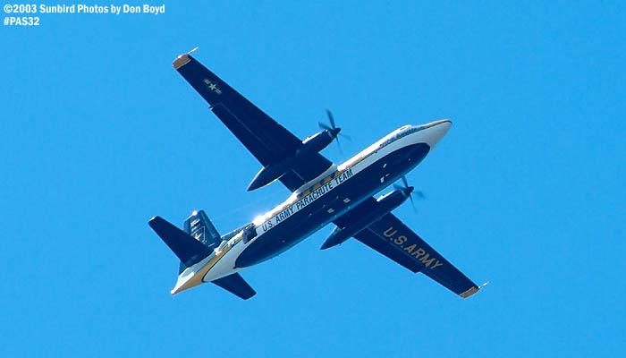U. S. Army Parachute Team Fokker C-31A Friendship military aviation air show stock photo #4129