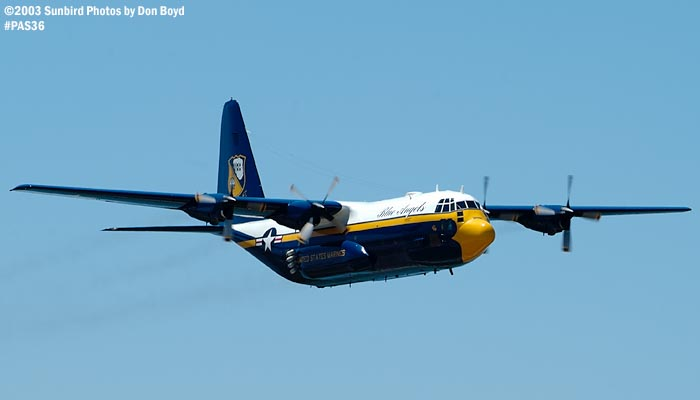 USMC Blue Angels C-130T Fat Albert (New Bert) #164763 high speed fly-by military aviation air show stock photo #4136