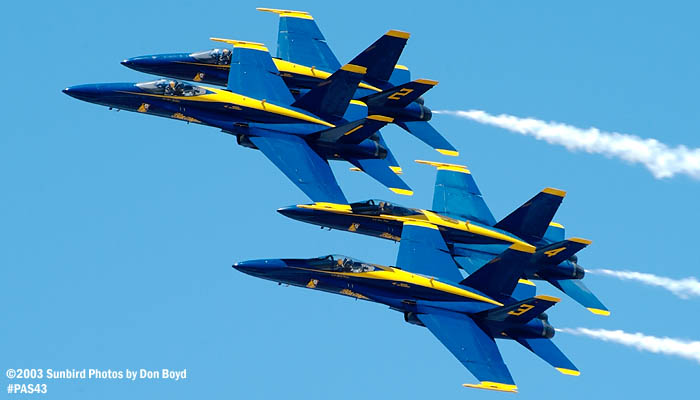 USN Blue Angels F/A-18 Hornets military aviation air show stock photo #4146