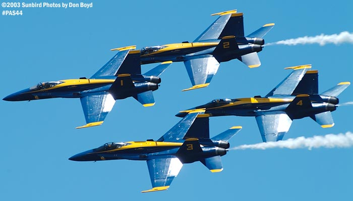 USN Blue Angels F/A-18 Hornets military aviation air show stock photo #4148