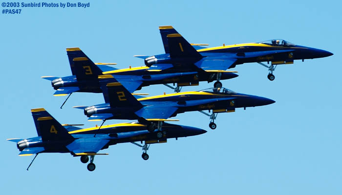 USN Blue Angels F/A-18 Hornets military aviation air show stock photo #4153