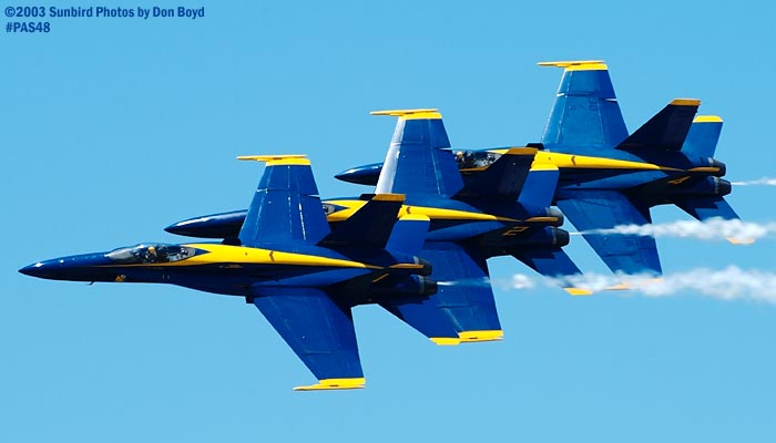 USN Blue Angels F/A-18 Hornets military aviation air show stock photo #4156