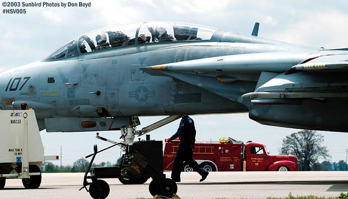 USN F-14 Tomcat ready to taxi military aviation air show stock photo #3677