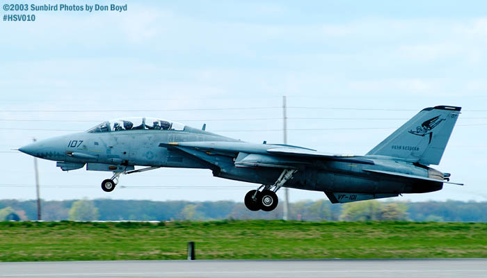 USN F-14 Tomcat from VF-101 Grim Reapers military aviation air show stock photo #3686