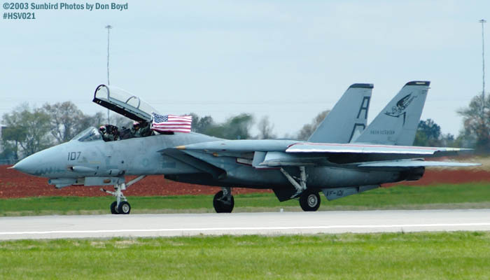 USN F-14 Tomcat from VF-101Grim Reapers fly the flag military aviation air show stock photo #3701