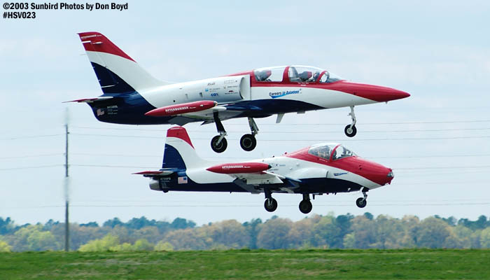 Czech 6s Aero Vodochody L-39 N6380L and Walker J. Hesters BAC-167 Strikemaster N799PS aviation air show stock photo #3704