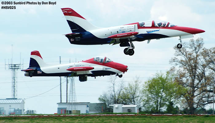 Czech 6s Aero Vodochody L-39 N6380L and Walker J. Hesters BAC-167 Strikemaster N799PS aviation air show stock photo #3705