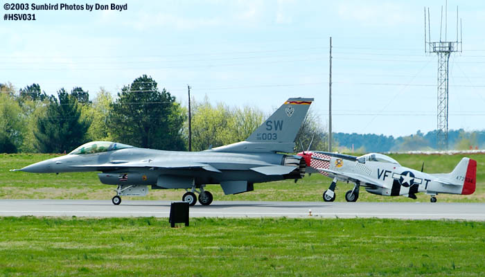 USAF F-16 AF98-0003 and Humberto Lobos P-51 Shangri-La  XB-HVL aviation warbird stock photo #3714