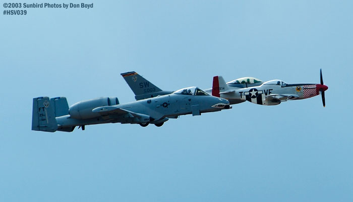 Heritage Flight of Humberto Lobos P-51 Shangri-La XB-HVL, USAF A-10A AF81-964 and USAF F-16 AF98-003 stock photo #3725