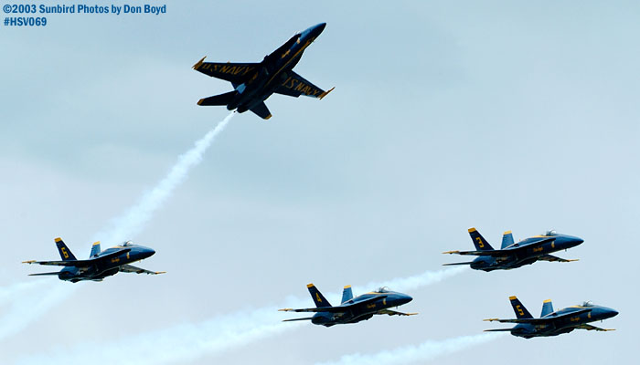USN Blue Angels F/A-18 Hornets military aviation air show stock photo #3761