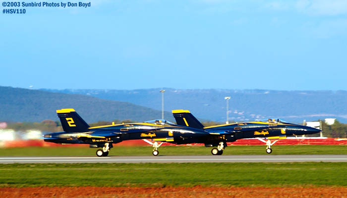 USN Blue Angels F/A-18 Hornets #1 and #2 military aviation air show stock photo #3823