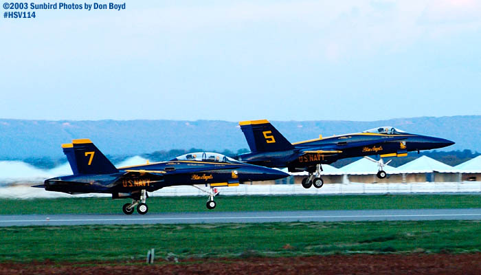 USN Blue Angels F/A-18 Hornets #5 and #7 military aviation stock photo #3831