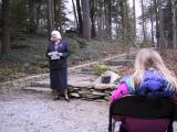 Janet Flick, expressing her appreciation of the garden, and sharing memories of her father. McKenzie Flick is in the foreground.