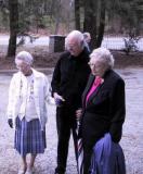Mary Lou Kehr, Bill Klippel, Ethel Larus viewing the memorial plaque