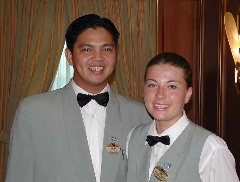 Jaime and Dana, our fantastic waitstaff during our cruise.