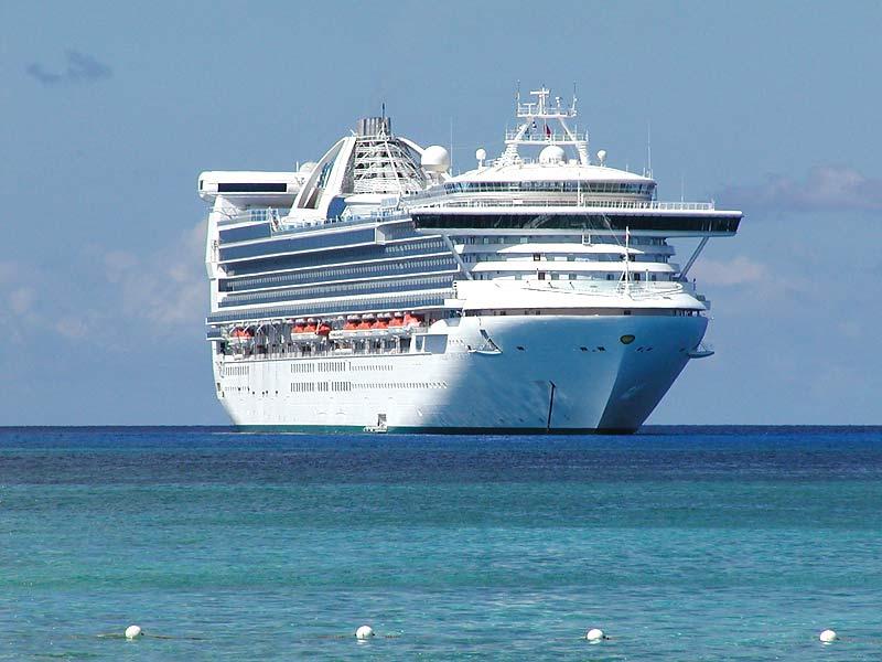 Golden Princess at anchor off Princess Cays
