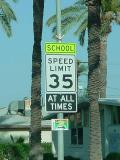 school speed limit 35 MPH at all times