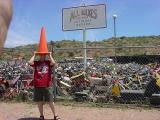 jeff demonstrating an orangecone at all bikes in Rye Arizona