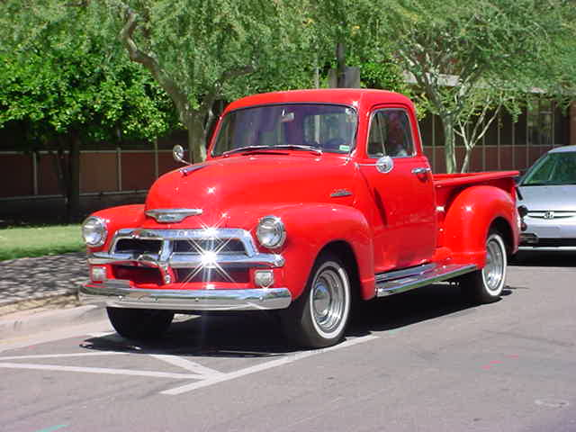 <br><b>red 1954 Chevy 3100 </b>