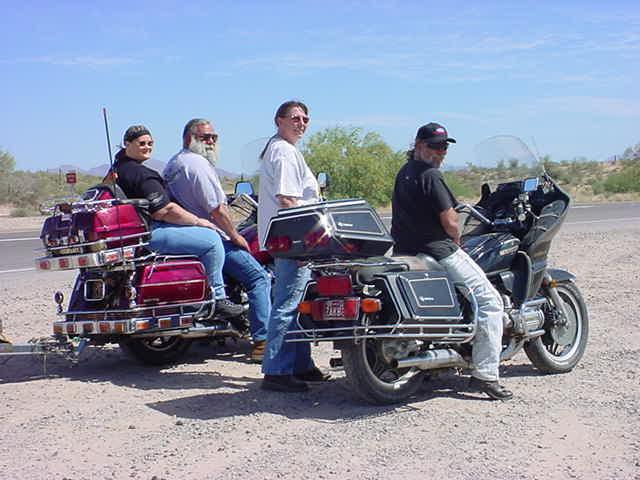 bikers resting on<br> the beeline highway