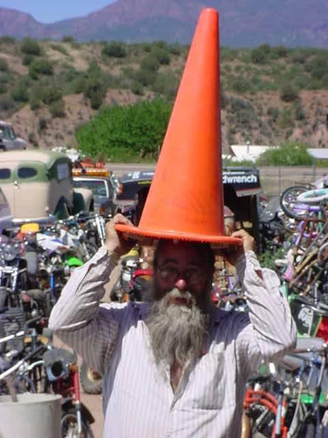 ron demonstrating merchandise at all bikes in Rye Arizona