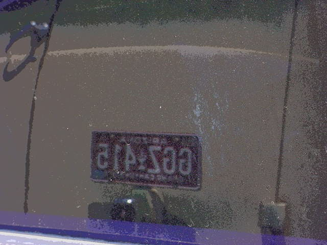 reflection of license plate