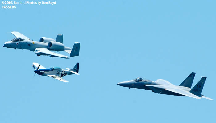 USAF Heritage Flight P-51D Crazy Horse, USAF A-10A and F-15C  military heritage aviation air show stock photo #4457