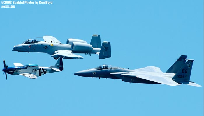 USAF Heritage Flight P-51D Crazy  Horse, USAF A-10A and F-15C military heritage aviation air show stock photo #4458